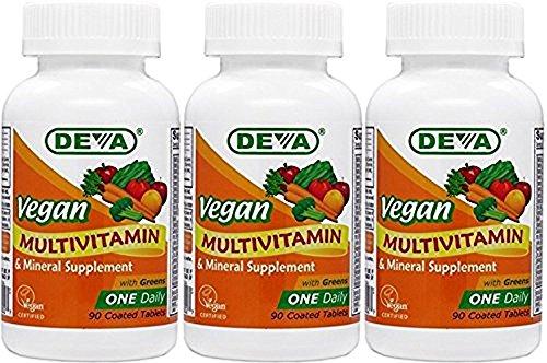 Deva Vegan Vitamins Daily Multivitamin & Mineral Supplement 90 tablets (Pack of 3)