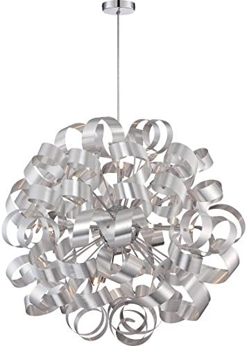 Quoizel RBN2831MN Ribbons Curved Metal Foyer Pendant Ceiling Lighting, 12-Light, Xenon 480 Watts, Millenia 31 H x 31 W