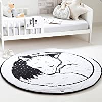 Hiltow Round Rugs Baby Rug Nursery Rugs Cute Fox Design Home Decoration Area ...