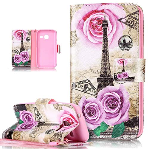 Galaxy J1 Mini Case,Galaxy J1 Mini Cover,ikasus Colorful Art Painted PU Leather Fold Flip Wallet Cover Stand Card Slots Protective Case Cover for Galaxy J1 mini (SM-J105H/DS),Flower Rose Eiffel Tower