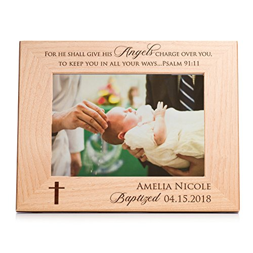 (Lifetime Creations Personalized Baptism Picture Frame (5x7) - Custom Engraved Baptism Gift)