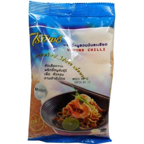 Ground Dried Chilli (Prik Pon) 100% Natural Thai Style Net Wt 100 G (3.53 Oz.) Raitip Brand X 3 Bags