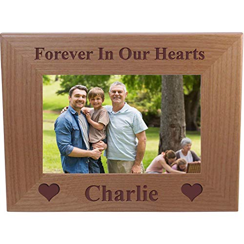 - CustomGiftsNow Forever in Our Hearts Memorial - Engraved Alder Wood Picture Frame Holds 4-inch x 6-inch Photo