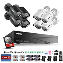 SANNCE Smart Security Camera System 8-Channel HD 1080N DVR with 1TB Hard Drive and (8) 720P Indoor/Outdoor Weatherproof Cameras - NO HDD