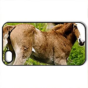 Beautiful Colt - Case Cover for iPhone 4 and 4s (Horses Series, Watercolor style, Black)