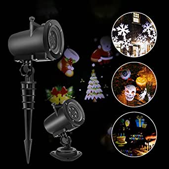 Konesky Projector Lights, 8W 12 Patterns Waterproof LED Projection Lamp with Remote Control for Christmas Halloween Thanksgiving Holiday Decoration