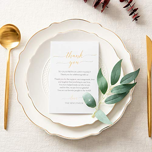 Crisky 50 Pcs Wedding Thank You Place Setting Cards, Foil Gold Thank You, Chic and Elegant Wedding Table Centerpieces and Wedding Decorations, Wedding Supply, 4 x 6 inch