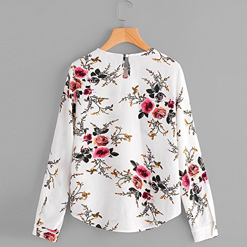 Camisa de Manga Larga para Mujer Moda Blouses Floral de impresión Casual Otoñal Tops con Bolsillo Estampados Camisa de Entrenamiento Camisa Pulóver: ...