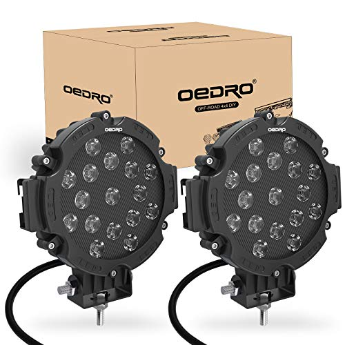 OEDRO 7 Inch 51W LED Light Bar, Round Spot Light Pods Off Road Driving Lights Fog Bumper Roof Light for Boat, Jeep, SUV, Truck, Hunters, Motorcycle, 2 years Warranty (Black Cover)