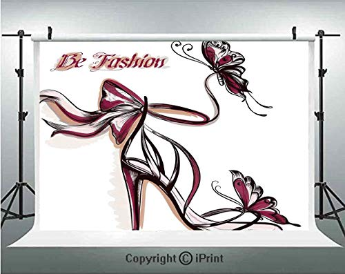 - Fashion House Decor Photography Backdrops High Heels with Butterfly and Ribbon Ornamentals Be Grace Spruceness Theme,Birthday Party Background Customized Microfiber Photo Studio Props,10x6.5ft,Pink