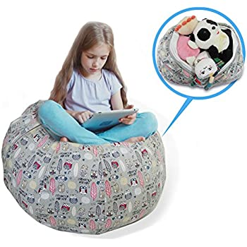 Charming Stuffed Animal Storage Bean Bag Chair   Large Size 30 Inch Cotton Canvas  Childrenu0027s Plush Toy