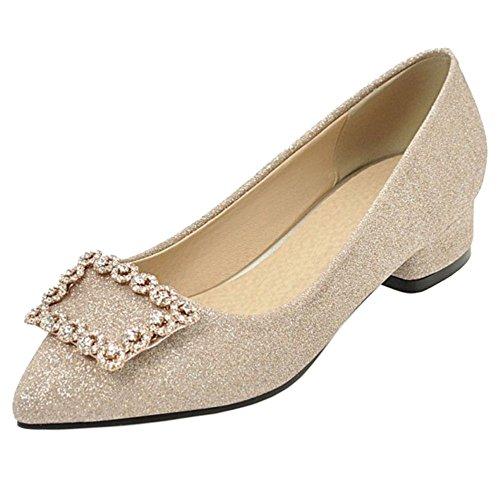Talons Gold RAZAMAZA Femmes shiny Escarpins Carre f15qTS5w
