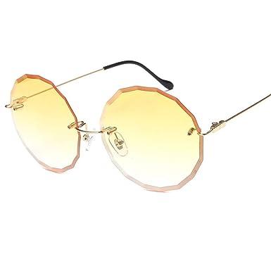 SK&2SOK Gafas De Sol,Las Gafas De Sol Sin Montura Redondas ...
