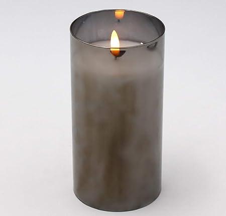 Werner Voss Led Kerze Im Glas 3d Flamme Effekt Grau Mit Timer