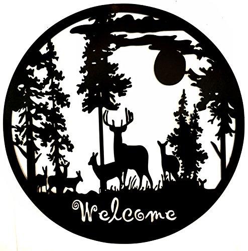 Bellaa 21895 Metal Wall Art Deer Pine Forest Mountain Lodge Cabin Decor
