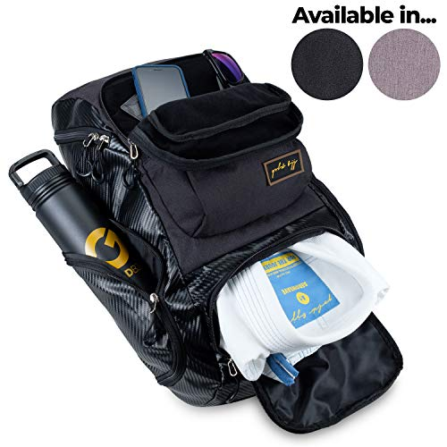 Gold BJJ Jiu Jitsu Backpack - Heavy Duty Gym Bag with Waterproof Gi Pocket (Black)