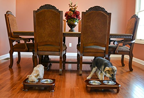 Premium Elevated Pet Feeder By Pawridge - Luxury Solid Wood Stand elevated dog bowl & 2 Food Grade Stainless Steel dog Bowls - Improves Your Pet's Digestion - Suitable For Small / Medium Dogs & Cats by Pawridge (Image #5)