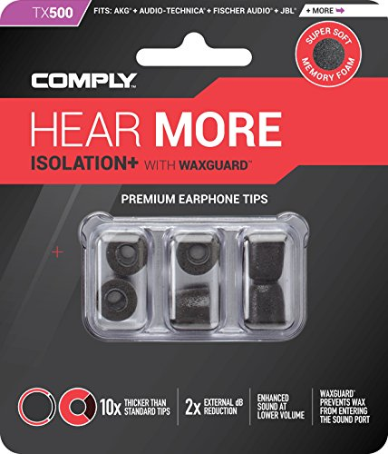 Large Product Image of Comply Isolation Plus Noise Cancelling Memory Foam Earphone Tips for Anker Soundbuds, KZ ZST, SoundPEATS Q30, Symphonized NRG 3.0 &More, Replacement Noise Reducing Earbud Tips Tx-500  (Medium, 3 Pair)