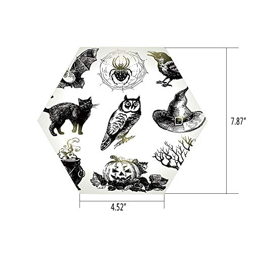 (iPrint Hexagon Wall Sticker,Mural Decal,Vintage Halloween,Halloween Related Pictures Drawn by Hand Raven Owl Spider Black Cat Decorative,Black White,for Home Decor 4.52x7.87 10)
