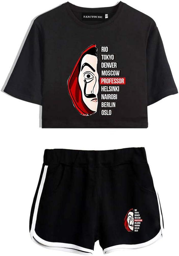 Tanersoned Womens La Casa De Papel Graphic T-Shirt with Shorts Crop Top Set Sportswear Casual Fashion Suit