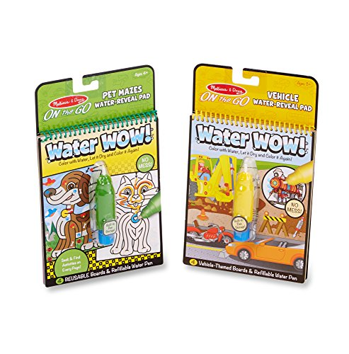 Melissa & Doug On The Go Water Wow! Pet Mazes and Water Wow Coloring Book - Vehicles Bundle ()
