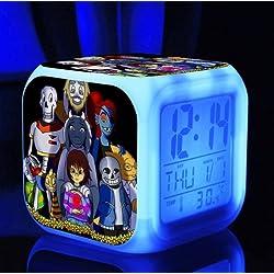 Cute Cartoon Undertale Sans and Papyrus Cartoon Game Digital Alarm Desktop Clock with 7 Changing LED Clock (Style 4)