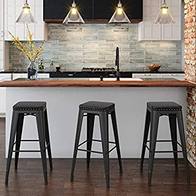 Strange Songmics Bar Stools Pu Upholstery Bar Chairs Stackable Kitchen Stools 30 Bar Height Set Of 2 Breakfast Stools No Assembly Required Industrial Alphanode Cool Chair Designs And Ideas Alphanodeonline