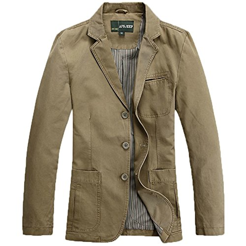Cccken Men's Military Slim Fit Button Fly Blazer Cotton Sport Outwear Jacket(Khaki US L=Asia 2XL 1320#) (Travel Sport Coat)
