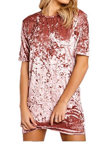 Menglihua Women Vintage Velvet Short Sleeve Crew Neck Casual T Shirt Mini Party Dress Pink XL