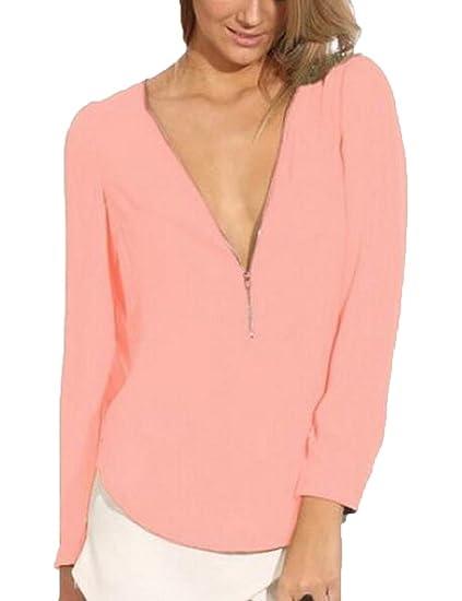 51e4d2c6e664b Women s Vogue Long Sleeve Deep V-Neck Chiffon Shirts Tees at Amazon Women s  Clothing store