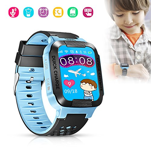 Hizek Smart Watch for Kids, GPS Tracker with SIM Calls Wireless Anti-Lost SOS Bracelet Children Girls Boys Holiday Birthday Gifts for iPhone Android Smartphone Blue by Hizek (Image #7)