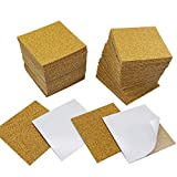 "80 Pack Self-Adhesive Cork Sheets DIY Coaster Square Cork Coasters Premium Mini Wall Cork Tiles Ultra Strong Self Adhesive Backing (4""x4"")"