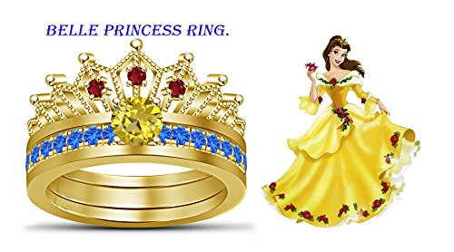TVS-JEWELS multi color stone in 14k gold over plated sterling silver belle disney princess wedding ring (5) (Color Yellow Gold Multi Stone)