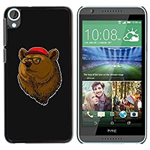 PC/Aluminum Funda Carcasa protectora para HTC Desire 820 Bear Brown Animal Forest Portrait Glasses Red Hat / JUSTGO PHONE PROTECTOR