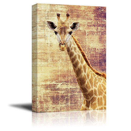 wall26 - Canvas Print Wall Art - Giraffe on Grunge Abstract Background - Gallery Wrap Modern Home Decor | Ready to Hang - 16x24 ()