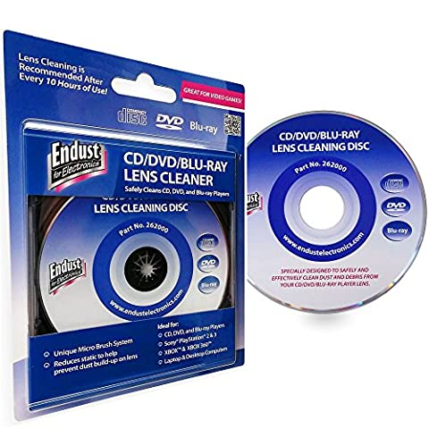 Endust 262000 Laser Lens Cleaner Disc for PlayStation Xbox One Xbox 360 Gaming Consuls Laptop and Desktop Computers CD Players Blu-Ray CD-DVD (Disk To Clean Computer)