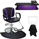 LCL Beauty Salon Styling Station Package: Adjustable Hydraulic Salon Barber Chair, Black Wall Mount Styling Station with Purple Drawers, and 1/2 Thick Semi-Circle Anti-Fatigue Floor Mat