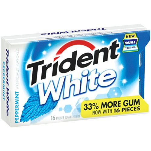 Trident White SugarFree Gum Peppermint, 16 Count, Pack of 9 by Mondelez Global LLC