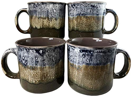 (Reactive Glaze Coffee Mugs | Set of 4 (Brown) | 18oz Ceramic Campfire Mugs | Microwave & Dishwasher Safe)