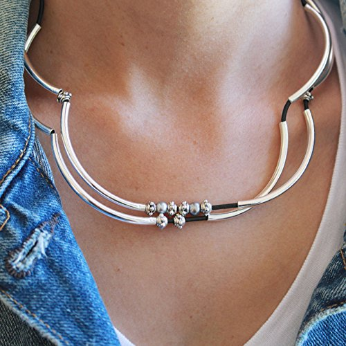 Lizzy James Charmer Natural Black Leather Wrap Bracelet Necklace in Silver with Small Freshwater Pearls (Small) by Lizzy James (Image #2)