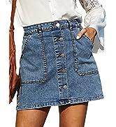 GRACE KARIN Women's Casual Button Down Denim Skirt High Waist Bodycon Pockets Jean Short Skirt