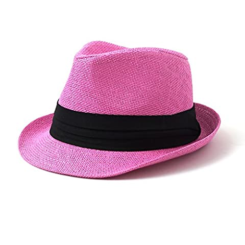 Kid's Fedora Hat With Black Pleated Band (L/XL, Pink)