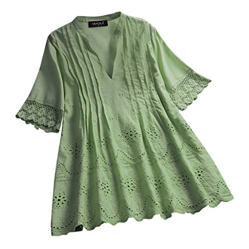 Matasleno Women's Essential Casual Loose Solid Cotton Linen Tops Blouses Tops Blouse Green
