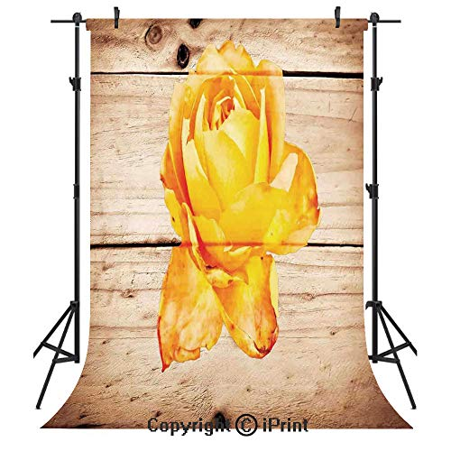 (Rustic Home Decor Photography Backdrops,Rose Flower with Petals Floral Beauty Fragrance Elegance Romance Theme,Birthday Party Seamless Photo Studio Booth Background Banner 6x9ft,Orange Yellow)