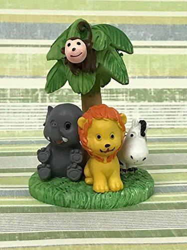 Jungle Safari Baby Shower Small Cake Topper Figurine (Blue Safari Baby Shower Cake)
