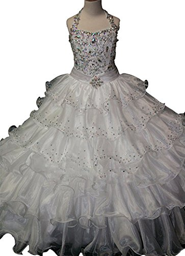 WZY Girls Crystal Beaded Ruffled Party Christmas Ball Gown Princess Pageant Dress (16, White) by WZY