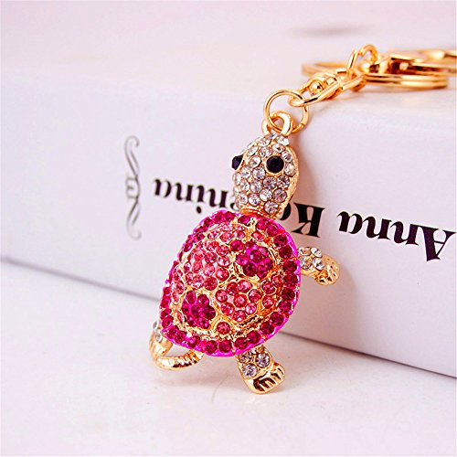 JewelBeauty Rhinestone Crystal Tortoise Turtle Keychains Handbag Key Holder Keyring for Car Purse Bag Charm Pendant (Pink)