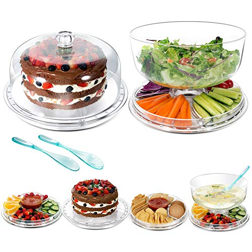 (Salad Bowls with Dome Lids 6-in-1 Salad Plates & Cake Stand-Send 2 PCS Salad Spoons)