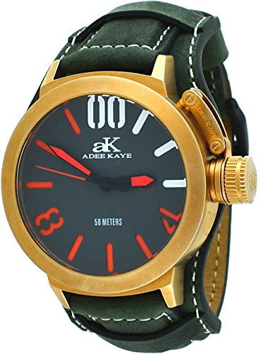 Adee Kaye #AK7285-RG/GN Men's Rose Gold Tone Canteen Crown Protector Leather Band Watch