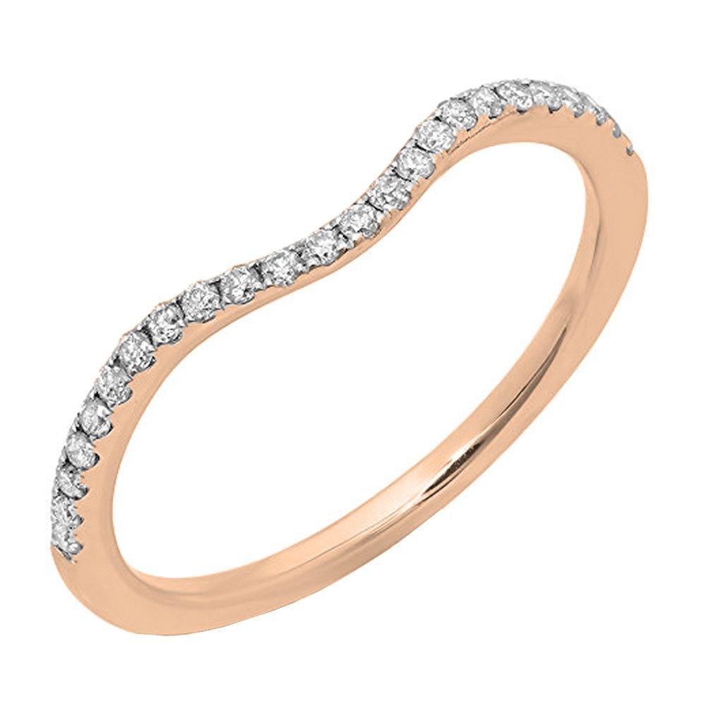 Dazzlingrock Collection 0.20 Carat (ctw) 14K Round Diamond Ladies Wedding Contour Guard Band 1/5 CT, Rose Gold, Size 7